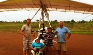 Microlight Cambodia - Skot Sanderson, Mitch St.Pierre, Phally Phy, Eddie Smith (Pilot)