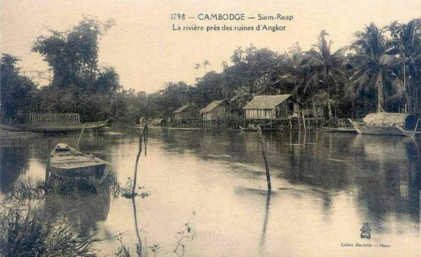Siem Reap village and river near the ruins of Angkor, postcard c.1910 - Old Photos in Cambodia